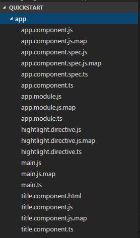 Quick Start Angular Application folder structure